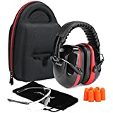 ProCase 防音具セット:イヤーマフ 耳栓 保護メガネ 収納ケース 銃射、狩りや工場の耳と目の保護キット‐ブラック・レッド
