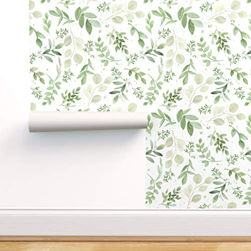 Spoonflower Pre-Pasted Removable Wallpaper, Diamond Shape Eucalyptus Watercolor Pattern Sage Green Floral Female Greenery Print, Water-Activated Wallpaper, 24in x 108in Roll