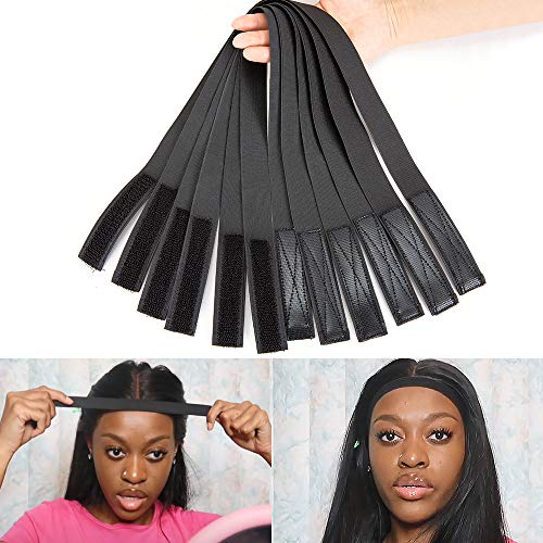1 Inch 6 PCS Velcro-Elastic Bands for Sewing Wigs Hair 26Inch Length Adjust Wig Strap-Velcro-Elastic Band for Stretching Black Wig Making Accessories with Sewing