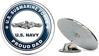 US Navy US Submarine Force Proud Dad Silver Dolphins Military Veteran USA Pride Served Gift Metal 0.75