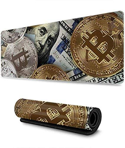 Alfombrilla de ratón para juegos Cientos dólares Monedas de Bitcoin Dinero Alfombrilla de ratón grande extendida Base de goma antideslizante Durable Alfombrilla de ratón resistente al agua 900