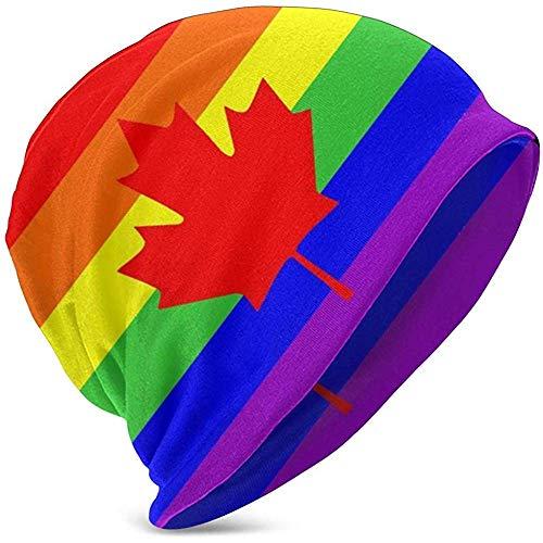 Giles John Unisex Beanie Caps Homosexuell Stolz Flagge Kanada Ahorn Verlassen Slouchy Manschette Schädel Strickmütze Mütze Sommer Warme Ski Hüte Snapback Für Mädchen Jungen Schwarz