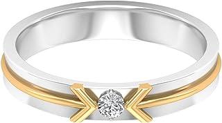 April Birthstone — Solitario rotondo 2,50 mm D-VSSI Moissanite anello, anello di fidanzamento bicolore, anello promessa fr...