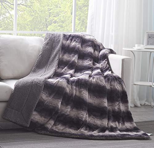 Tache 50 X 60 Inch Plush Charcoal Black Super Soft Striped Faux...