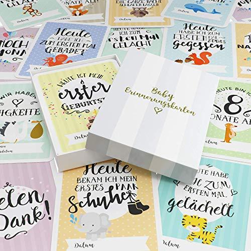 Baby Milestone Cards DEUTSCH – Meilenstein karten – 40 unisex Fotokarten – Geschenkset – Babyparty – Erstes Lebensjahr - 2
