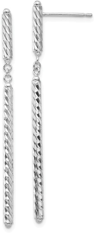 Beautiful White gold 14K Whitegold 14K WG Diamondcut Tubular Earrings