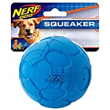 Nerf Dog Bash Ball Dog Toy with Interactive Squeaker, Lightweight, Durable and Water Resistant, 4 Inches, for Medium/Large Breeds, Single Unit, Blue