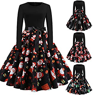 Extaum Women Christmas Dress Cartoon Santa Snowman Snowflake Present Print High Waist Swing Bow Elegant One-Piece
