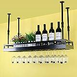 MoDi Botelleros Iron Retro Industrial Style Bar Restaurante Colgante Titular de la Copa Barra Decoración de los Estantes de Vino Techo botelleros de Vino (Color : Negro, Tamaño : 50 * 35cm)
