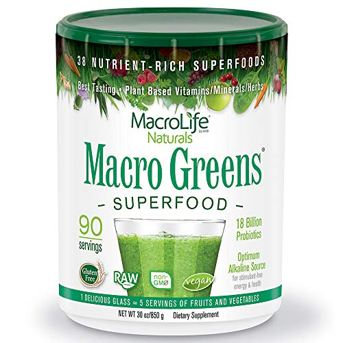 MacroLife Naturals Macro Greens Superfood  Organic - Vegan - Non-GMO - 38 Nutrient-Rich Ingredients - 30z - 90 Servings