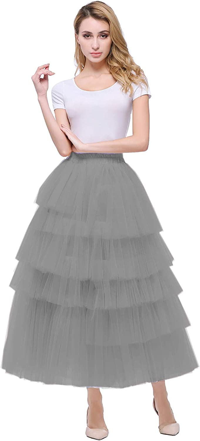 Heypen Women's Tiered Layered Mesh Ballet Prom Party Tulle ALine Midi Skirt