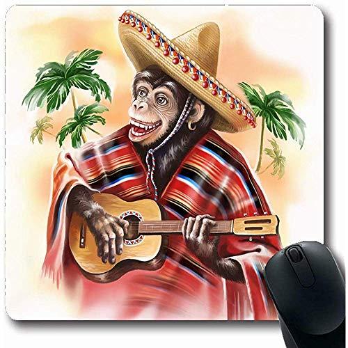 Mousepads Palm Digital Grappige aap Mexicaanse jurk spelen Gitaar Ape Artiest Karakter Chimp Muziek Oblong vorm 18X22Cm anti-slip Gaming Mouse Pad