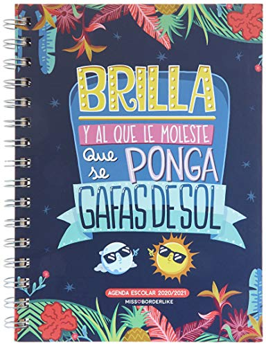Miquel Rius Agenda Escolar Rígida de Espiral 155x213 Mm Semana Vista 2020 MissBorderlike Brilla Azul Castellano