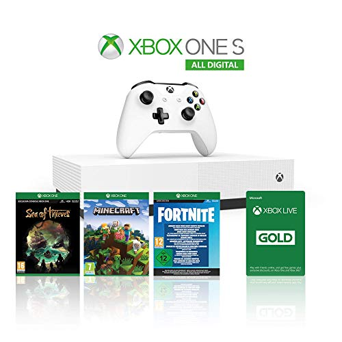 Xbox One S 1TB All Digital Edition Console + 1 Mese Xbox Live Gold + 3 Digital Games Inclusi (Sea of Thieves, Minecraft, Fortnite Legendary Evolving Skin & 2000 V-Bucks)