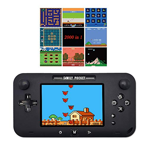 Jackky Handheld Game Console, Portable Game Player Built-in 2500 Classic Games 4 Inch Retro Gaming System, Support TV/AV 12 Bit Rechargeable Video Game Console, Best Gift for Kids and Adults (Black)