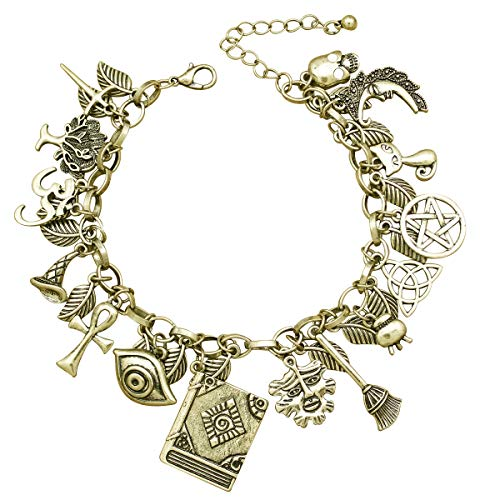 RechicGu Vintage Gold Mythology Fairytale Lucky Charms Cuff Bangle Bracelet Cross Leaf Moon Face Celtic Cat