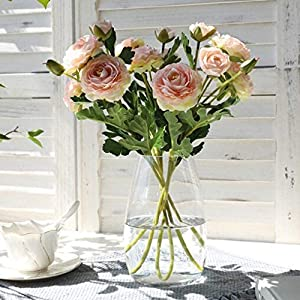 Artificial and Dried Flower 3PCS/lot Artificial Silk Lotus Rose Flowers Wedding Party Decoration Flower Arrangement Pink 6 Heads Fake Lotus Roses for Vase
