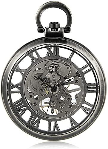 JQDMBH Relojes de Bolsillo,Reloj de Bolsillo Reloj de Bolsillo Unisex Blanco Blanco Color Mecánico Bolsillo Reloj Hollow Bolsillo Reloj Retro Descubrido Tabla de Regalo Vintage Reloj de Bolsillo