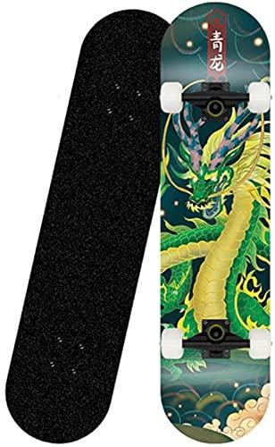 Patineta Placa Completa 31 x 8 Pulgadas Skateboards con Doble Patada Rodamiento de rodamientos ABEC-7 Longboard Maple de Madera 8 Poleal para niños Adultos para Principiantes-Patineta
