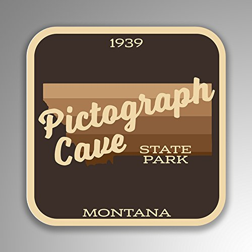 JMM Industries Piktogramm Höhle State Park Montana Vinyl-Aufkleber Retro Vintage Look 2 Stück 10,2 x 10,2 cm Premium Qualität UV Schutz Laminat SPS361