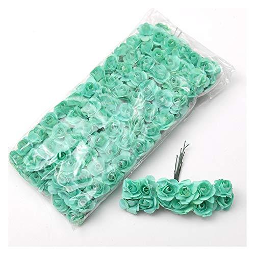 WXL Gefälschte Blume 1,5 cm Mini Blumenstrauß Papier Rose künstliche Blumen Hände für Hochzeitsdekoration Scrapbooking Kleine gefälschte Blume Blume (Color : Mint Green, Größe : 12PCS)