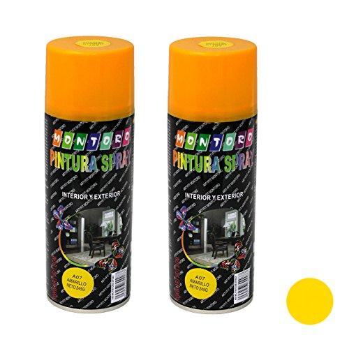 Montoro - Pack de 2 botes de pintura en spray Amarillo A07 400 ml