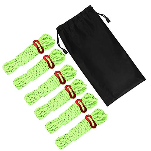 JTENG 6 Stck Abspannseile Reflektierende Ø 4mm 400mm Leuchtend Reflector Cord Zelt-Abspannleinen mit Reflektierendem Kunststoff-Faden Spannschnur Abspannleine Zeltleine Zeltseil Spannsei (Green)