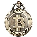 SWAOOS Retro Bitcoins Coin Replica Reloj De Bolsillo De Cuarzo Conmemorativo Casascius Collar bit BTC Metal Antique Imitation Art Collection 30Cm