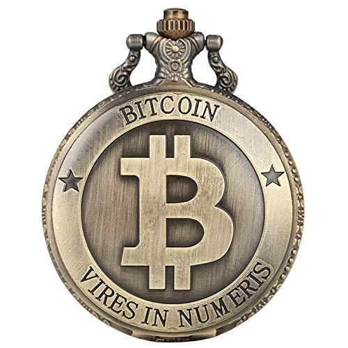 SWAOOS Retro Bitcoins Coin Replica Reloj De Bolsillo De Cuarzo Conmemorativo Casascius Collar bit BTC Metal Antique Imitation Art Collection 80Cm