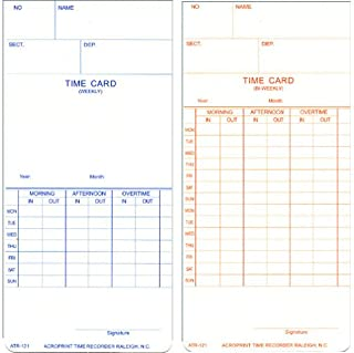 Acroprint 09-9110-000 Model ATR121 Weekly/Biweekly Time Cards, Replacement Time Cards for the ATR120 Electronic Time Clock, Cards are Printed on One Side for Weekly Pay Period, Biweekly on the Other