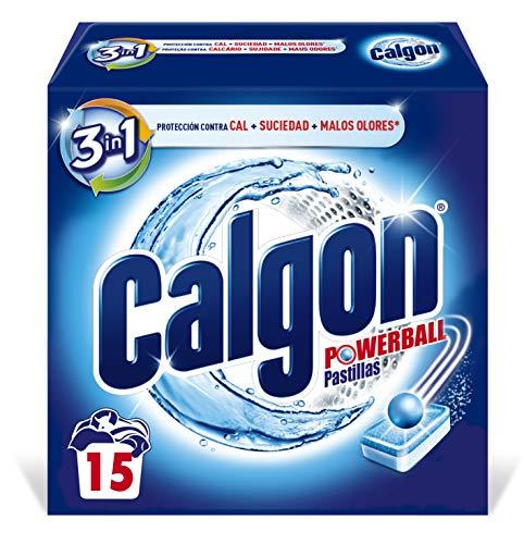 Calgon Powerball Pastillas - Antical para la Lavadora, Elimina Olores y Suciedad, en formato pastillas, 15 unidades