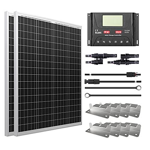 HQST 200W 12V Polycrystalline Solar Panel Kit w/ 30A PWM LCD Solar...