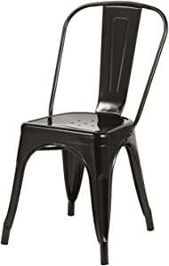 1x Chaise de Salle à Manger Noir Chaise de Cuisine en Fer/métal - empilable Duhome 0668