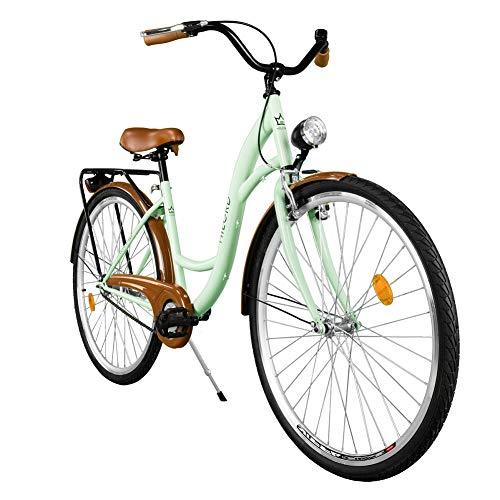 Milord. Komfort Fahrrad mit Gepäckträger, Hollandrad, Damenfahrrad, 1-Gang, Mint Grün, 28 Zoll