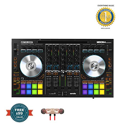 Reloop MIXON 4 4-channel DJ Controller/Audio Interface - Mac/PC/iOS/Android includes Free Wireless Earbuds - Stereo Bluetooth In-ear and 1 Year Everything Music Extended Warranty