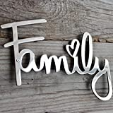 """Way Of Hearts - Letrero """"Family"""" de metal - Decoración de granja - Arte de pared familiar - Decoraciones para decoración de sala - Letreros de decoración para pared - decoración del hogar -..."""
