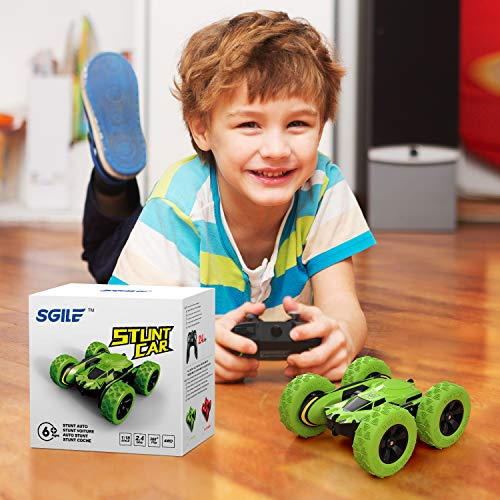 SGILE Macchina Telecomandata per Bambini, 4WD Auto Telecomandata con Batteria Ricaricabile, RC Macchina Acronazia Rotazione a 360 Gradi Regalo Verde