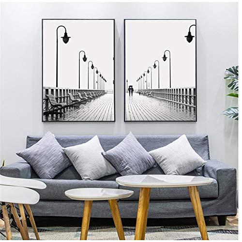 "ZHANGSHAIFFBH Cuadro en Lienzo Minimalista Street Lamp Poster Blanco y Negro Arte de la Pared Fotografía de Moda Carteles e Impresiones Modern Home Decor 50x70cm (19.7""x27.6) x2 Sin Marco"