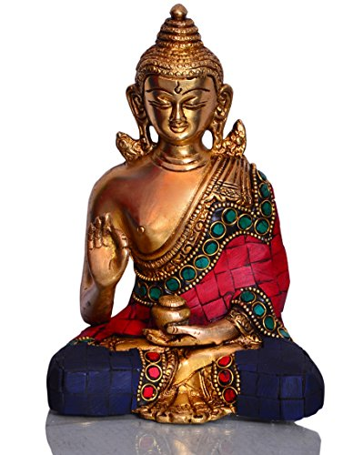 Purpledip God Statue of Lord Buddha in Solid Brass Metal with Turquoise Gem-Stone Work Buddha in Vitarka Mudra Preaching Form 10512