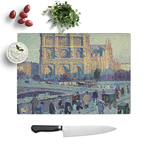 Glass Chopping Board - Maximilien Luce Notre Dame - Textured Worktop Saver Cutting Board - Heat Resistant, Shatterproof and Hygenic - 39 x 28.5 cm