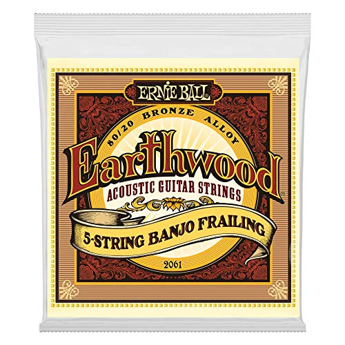 Ernie Ball Earthwood 5-string Banjo 80/20 Bronze Loop End Frailing...