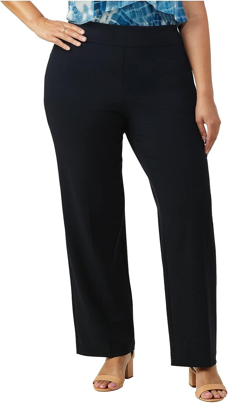 Dressbarn Women's Roz & Ali Plus Secret Agent Tummy Control Pull On Pant, High Rise Average Length