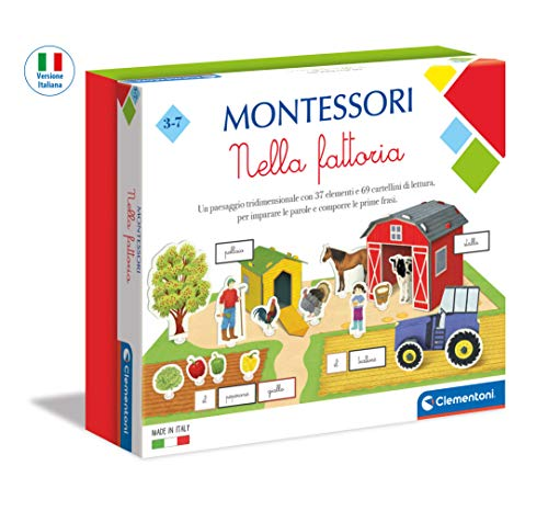 Clementoni 16267 Bauernhof – Made in Italy – Montessori Spiele 3 Jahre – Lernspiel, Mehrfarbig