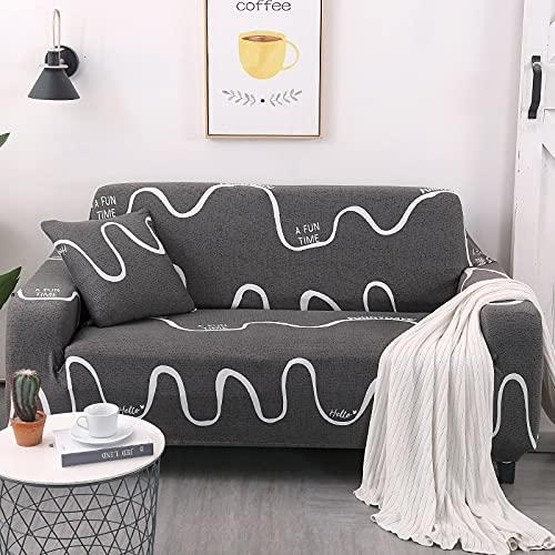 MKQB Funda de sofá elástica con Estampado de cheques, Funda de sofá en Forma de L para Sala de Estar, Funda de sofá Antideslizante n. ° 13 4seat-XL- (235-300cm)