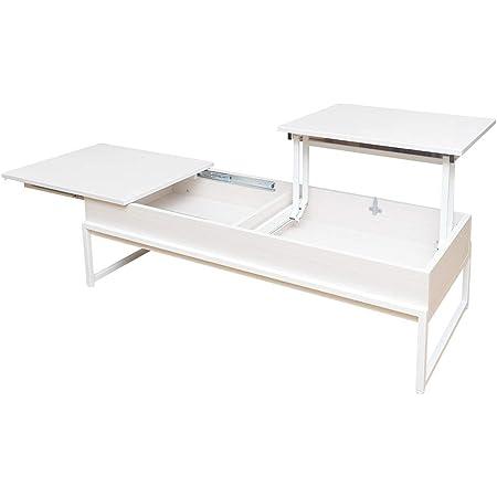 宮武製作所 天板昇降テーブル Belle 幅120×奥行き50×高さ37cm(昇降時:62cm) ホワイト スライド機能付き 天板下収納 CT-L1250 WH