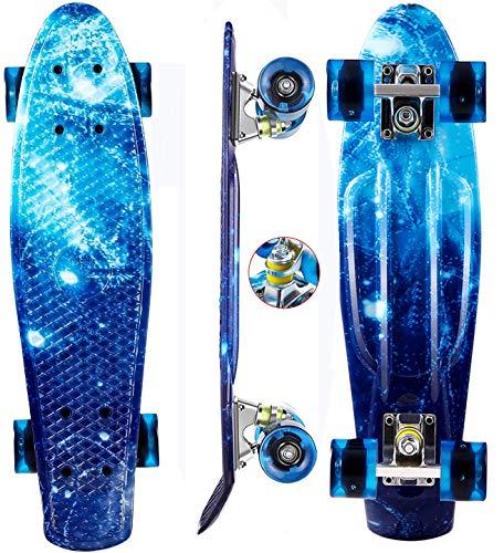 """Oppikle 22\"""" 55cm Mini Cruiser Skateboard Retro Komplettboard mit LED LeucCruiser-Board mit LED Leuchtrollen für Erwachsene Kinder Jungen Mädchen (Blauer Sternenhimmel)"""