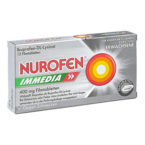 Nurofen Immedia 400mg Filmtabletten – Kombiniertes Schmerzmittel aus Ibuprofen und Lysin für schnelle Hilfe bei Schmerzen – 1 Packung mit je 12 Stück