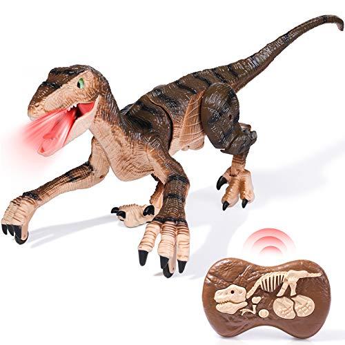 rolimate Juguetes de Dinosaurios de Simulación de Control Remoto para 5 6 7 8 años Niñas Niños, Juguete de Robot RC de 2.4Ghz con luz LED Caminar Rugiendo, Control Táctil con Batería Recargable