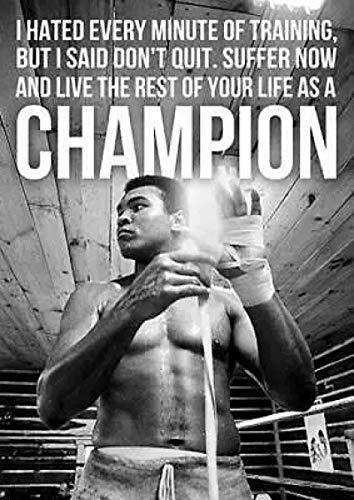 Crazystore Impresión en Lienzo 40x60 cm sin Marco Obra de Arte Pintura Muhammad Ali Champion Boxing Motivacional Arte Película Impresión de Seda Póster Decoración de la Pared del hogar