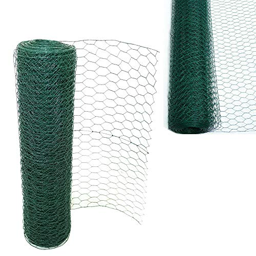 Efan Alambre de pollo, recubierto de PVC, malla de alambre hexagonal, malla de alambre para jardín, malla de pollo, 60 cm x 50 m, tamaño del agujero: 50 mm